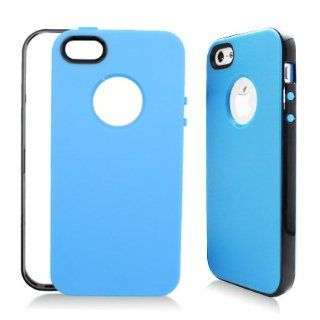 Aimo Wireless IPH5PCTPU302 Hybrid Sensual Gummy PC/TPU Slim Protective Case for iPhone 5   Retail Packaging   Black/Blue Cell Phones & Accessories