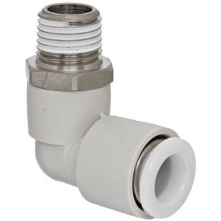 "SMC KG Series Stainless Steel 303 Push to Connect Tube Fitting, 90 Degree Elbow with Sealant, 10mm Tube OD x 1/4"" BSPT Male"