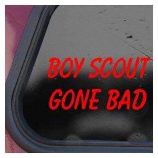 BOY SCOUT GONE BAD Red Sticker Decal Funny Laptop Die cut Red Sticker Decal   Decorative Wall Appliques