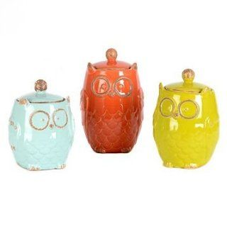 3 Piece Set Galzed Ceramic Owl Canister Jar Removable Lids Kitchen Home Decor Accent Orane red, Lime green, Aqua blue  Cookie Jars