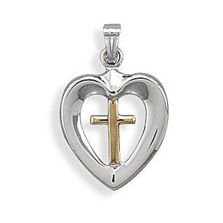 Rhodium Plated Sterling Silver Heart with Cross Charm Pendants Jewelry