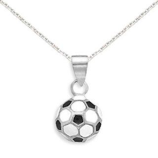 Soccer Ball Necklace Round 3 D Black and White Sterling Silver, 13IN Jewelry