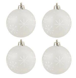 "4ct Frosted Glitter Snowflake Shatterproof Christmas Ball Ornaments 2.75"" (70mm)   White"