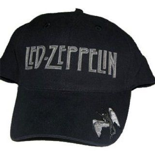 Led Zeppelin Swan Song Brim Fitted Black Hat Cap Clothing