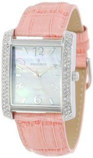 Peugeot Women's 325PK Silver Tone Swarovski Crystal Accented Pink Leather Strap Watch Watches