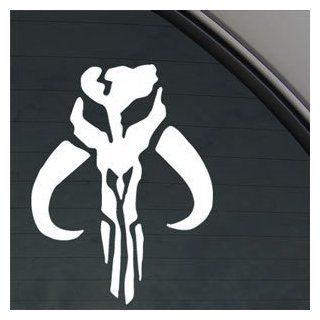 "BOBA FETT SKULL 6"" WHITE Vinyl Decal Window Sticker for Laptop, Ipad, Window, Wall, Car, Truck, Motorcycle   Wall Decor Stickers"