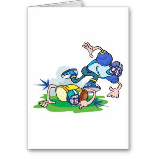 funny football tackle cartoon greeting cards