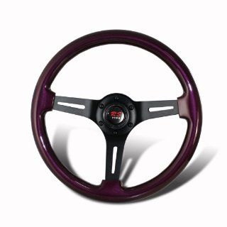 Universal 345mm 6 Hole Purple Wood Grain Style Deep Dish Steering Wheel Automotive