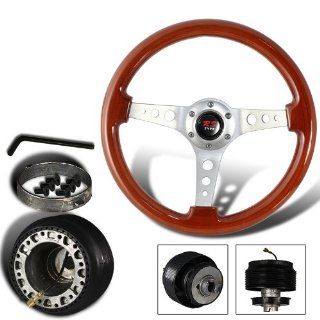 345mm 6 Hole Classic Wood Grain Style Deep Dish Steering Wheel + Honda/Acura Hub Adapter Automotive