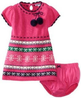 Hartstrings Baby girls Infant Fair Isle Sweater Dress and Diaper Cover Set, Fuchsia, 3 6 Months Clothing