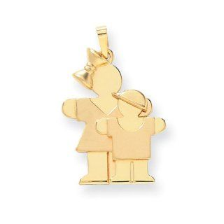 14k Yellow Gold Big Girl & Little Boy Engravable Charm. Metal Wt  3.75g Jewelry