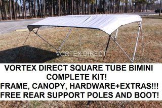 "NEW GREY/GRAY SQUARE TUBE FRAME VORTEX 4 BOW PONTOON/DECK BOAT BIMINI TOP 12' LONG, 91 96"" WIDE  Sports & Outdoors"