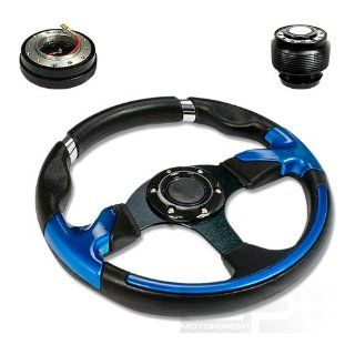 "SW T370+HUB OH124+QL 2, 320mm 12.5"" Black PVC Leather Blue Trim Black Spoke 6 Hole Racing Aluminum Steering Wheel with OH124 Short Hub Adapter and 2"" Slim Quick Release with Horn Button Automotive"