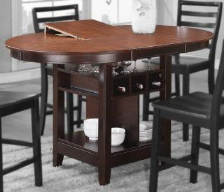 Counter Height Table with Espresso Frame and Cherry Table Top by Poundex   Dining Tables