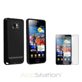 Black Jelly TPU Rubber Gel Skin Case Cover+LCD For Samsung Galaxy S 2 II i9100 Cell Phones & Accessories