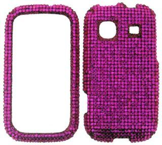 FULL DIAMOND CRYSTAL STONES COVER CASE FOR SAMSUNG TRENDER M380 HOT PINK Cell Phones & Accessories