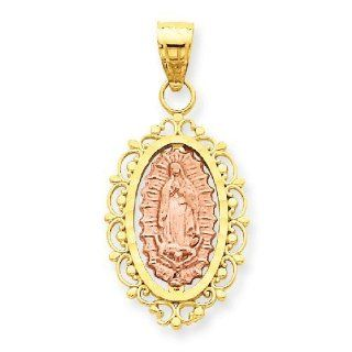 14k Gold Two Tone Gold Our Lady of Guadalupe Medal Pendant Jewelry