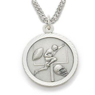 ".925 Sterling Silver Football Medal Pendant, St. Saint Christopher on Back Sports Jewelry w/Chain 20"" Length Rhodium Plated Strong Stainless Steel Necklace, Gift Boxed for Boys, Girls, Men or Women Jewelry"