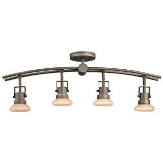 Kichler Lighting 7755OZ Structures 4 Light Fixed Directional Rail Light, Olde Bronze with Light Umber Glass   Track Lighting Fixtures