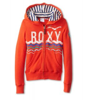 Roxy Kids Love In Zip Front Hoodie Girls Long Sleeve Pullover (Orange)