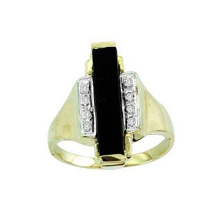 Onyx (Rectangle) & Diamond Ring 14K Yellow Gold (Great For Pointer Finger) RMC Worldwide Jewelry