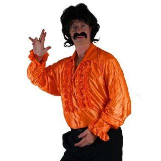 Wicked Mens Orange Disco Ruffle Shirts Costume For 70S Fancy Dress Xl Toys & Games