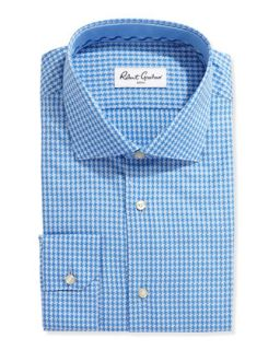Long Sleeve Houndstooth Poplin Dress Shirt, Blue