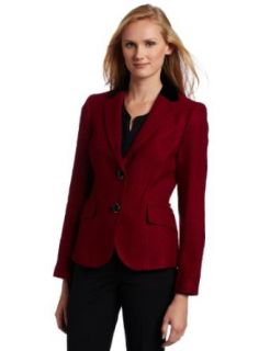 AK Anne Klein Women's Tonal Tweed Blazer, Magenta, 12 Blazers And Sports Jackets