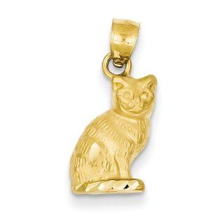 14K Yellow Gold Diamond cut Cat Charm Pendant Jewelry
