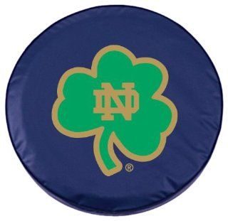 Notre Dame Tire Cover with Shamrock logo on stylish Navy vinyl by Covers by HBS  Sports Fan Tire And Wheel Covers  Sports & Outdoors