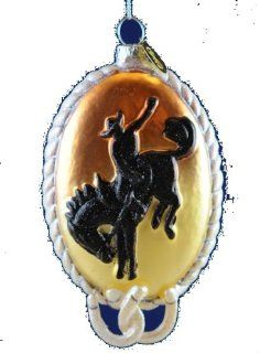 Cowboy Silhouette Glass Christmas Ornament Sports & Outdoors