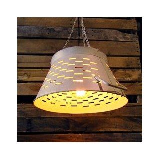 Rustic Olive Tub Pendant Light, Bucket Lamp, Colander, Large, White