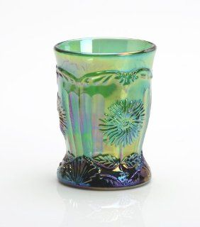 Hunter Green Carnival Glass Dahlia Flower Pattern Tumbler Made By Hand in Ohio Kitchen & Dining
