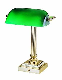 House of Troy DSK428 G61 Shelburne Collection 13 3/4 Inch Portable Desk Lamp, Polished Brass with Green Glass Shade   Desk Lamp Clamp On