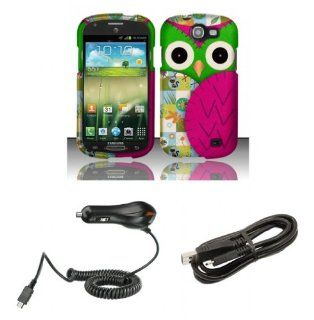 Samsung Galaxy Express I437 (AT&T)   Accessory Combo Kit   Hot Pink and Green Owl Design Shield Case + Atom LED Keychain Light + Micro USB Cable + Car Charger Cell Phones & Accessories