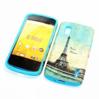 For LG Google Nexus 4/ LG E960 /Nexus 4/Optimus Nexus T Mobile 2 in 1 Hybrid Cover Case Eiffel Tower Paris PC + Sky Blue Silicone Cell Phones & Accessories