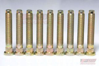 NEW Gold Pin Wheel Studs 10pcs 50mm LONG EXTENDED WHEEL STUD BOLT KIT m12X1.5X50 Fit 1988 2000 Honda Civic and Acura Integra K12 A01 Automotive