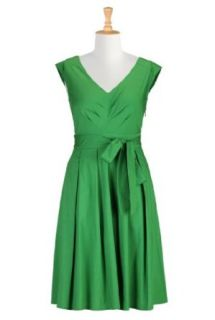 eShakti Women's Chevron pleat poplin dress 6X 36W Tall Spring green
