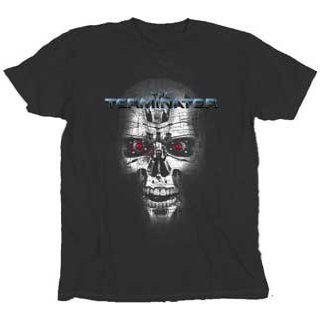 Terminator Endoskeleton Face Washed Black T shirt Tee Clothing