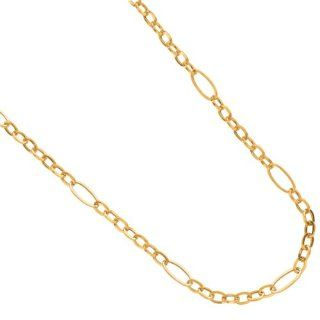 "14K Yellow Gold 18"" 5.40mm Polish Square Tube Oval Chain Link Spaced By 6 Long Oval Link Necklace With Spring Ring Clasp Jewelry"