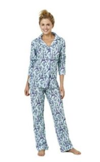 BedHead Pajamas for Women, Eiffel Tower, Aqua/Purple (Small) Pants Pajamas Sets