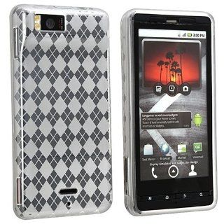 eForCity TPU Rubber Skin Case Compatible with Motorola Droid Xtreme MB810 / Droid X, Clear White Argyle Cell Phones & Accessories