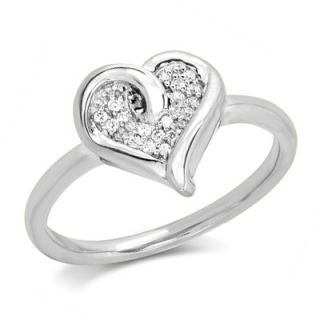 10 CT. T.W. Diamond Cluster Looping Heart Ring in Sterling Silver