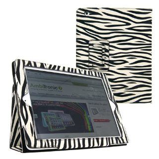 KIQ Portfolio Leather Case for iPad 2 2nd Generation Animal Series   Zebra Print with Built in Stand and Screen Protector  Players & Accessories