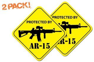 "Protected by AR 15 Warning SECURITY Window Sticker DECAL 4"" Diamond (2 PACK) Automotive"