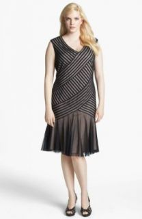 London Times Cable & Mesh Drop Waist Dress (Plus Size) (14W)