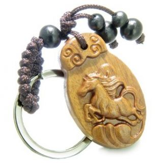 Amulet Sandal Wood Lucky Horse Earth Elements Feng Shui Natural Powers Keychain Jewelry