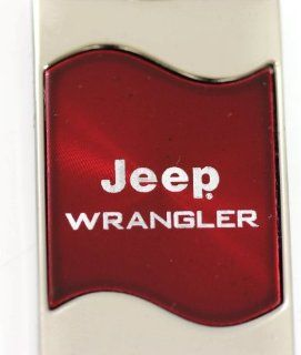 Jeep Wrangler Rectangular Wave Red Key Fob Authentic Logo Key Chain Key Ring Keychain Lanyard Automotive