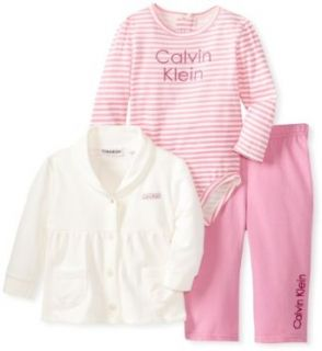 Calvin Klein Baby Girls Newborn Cream Jacket With Bodysuit And Pink Pants, Ivory, 3/6 Months Infant And Toddler Pants Clothing Sets Clothing