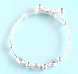New 925 Sterling Silver Baby/ Infant Anklet Baby Bracelet Baby Shower favors Gift for Your Lovely Baby Gorgeous Anklet Great Look for Your Baby's Feet(B 20)Two function can use it as anklet or bracelet Decoration of our anklet may vary based on differ